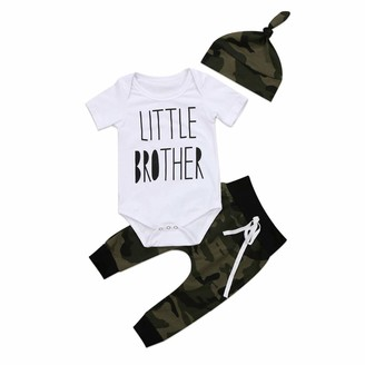 FYMNSI Newborn Infant Baby Coming Home Outfit Boy First Birthday Cake Smash Set Little Brother Twins Clothes Short Sleeve Romper Bodysuit Camouflage Long Pants Hat 3pcs Set Casual Party 0-3M