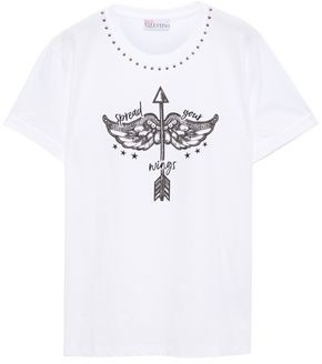 RED Valentino Embroidered Printed Cotton-jersey T-shirt