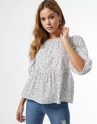 Miss Selfridge poplin blouse in white spot