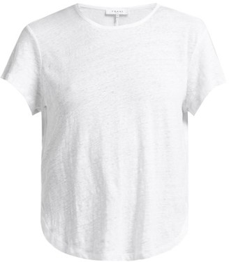 Frame Curved Hem Linen-jersey T-shirt - White