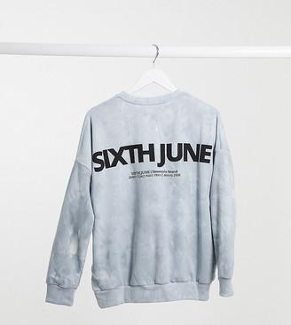 Sixth June oversized sweatshirt in tie-dye with back logo co-ord