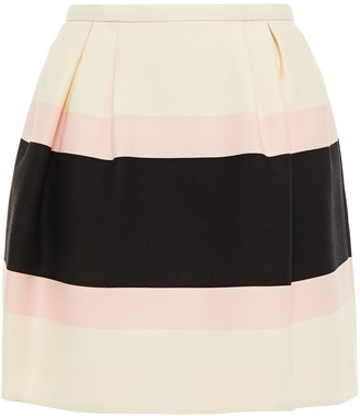 Valentino Pleated Color-block Wool And Silk-blend Crepe Mini Skirt