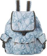Le Sport Sac Voyager Snake-Print Flap-Top Backpack, Aqua Snake