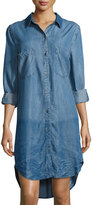 philosophy Chambray Long-Sleeve Button-Front Shirtdress, Indigo