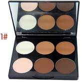 Mallofusa Six Color Compact Powder Palette Pressed Powder Makeup Shimmer Grooming 0.524oz
