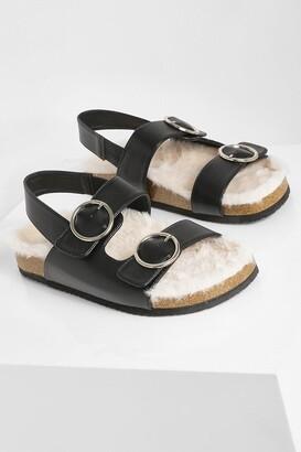 boohoo Fur Lined Dad Sandal