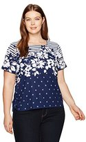Alfred Dunner Women's Stripe Floral Yoke Dot Border Knit Top S/S