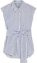 Alexander Wang Tie-front Striped Cotton-poplin Shirt - Blue
