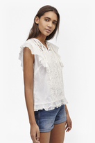 French Connection Dayton Lace Frill Sleeve Top
