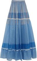 Stella McCartney Elsa Tiered Printed Silk-blend Chiffon Maxi Skirt - Blue
