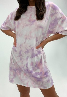 Missguided Lilac Tie Dye Oversized T Shirt Dress