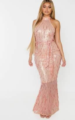 PrettyLittleThing Rose Gold Tassel Sequin High Neck Maxi Dress