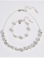 M&S Collection Silver Plated Sandblast Necklace & Bracelet Set