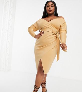 ASOS DESIGN Curve bardot wrap batwing sleeve midi dress with self-tie belt in beige