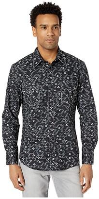 Rock and Roll Cowboy Print Long Sleeve Snap B2S4051 (Black) Men's Clothing