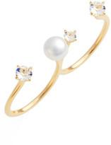 Nadri Jasmine Imitation Pearl Double Finger Ring