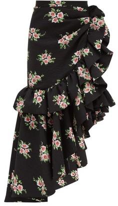 Rodarte Asymmetric Floral-print Cloque Midi Skirt - Black Multi