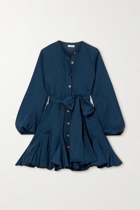 Rhode Resort Emma Belted Cotton-poplin Mini Dress - Navy