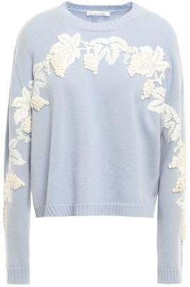 Oscar de la Renta Embellished Wool And Cashmere-blend Sweater