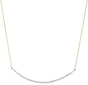 Adina Sterling Silver & 14K Yellow Gold Pave Diamond Curve Choker Necklace, 13
