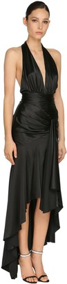Alexandre Vauthier Draped Stretch Satin Long Dress