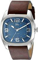 Quiksilver The Bruiser Men's Quartz Watch with Blue Dial Analogue Display and Brown Leather Strap QS/1006DBSV