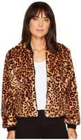 Splendid Leopard Faux Fur Jacket