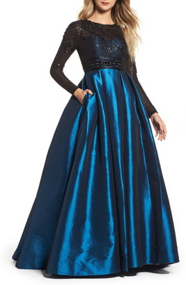 Mac Duggal Long Sleeve Taffeta Ballgown