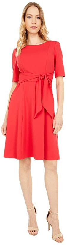 Adrianna Papell Crepe Tie Front Fit-and-Flare Women's Clothing
