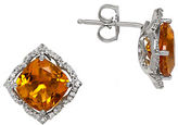 Lord & Taylor Citrine, Diamond and Sterling Silver Stud Earrings