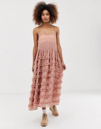 Sister Jane midi cami dress with full tiered ruffle skirt