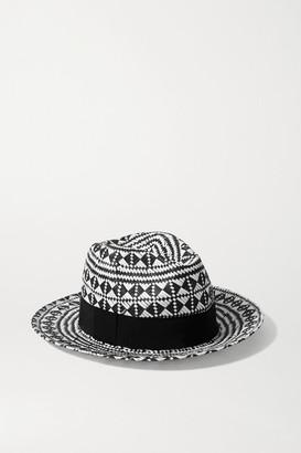 Eres Jones Grosgrain-trimmed Paper Fedora - Black