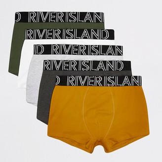 River Island Green RI waistband 5 pack hipster