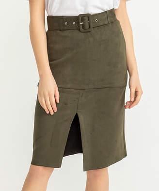 Simmly Women's Casual Skirts Khaki - Khaki Belt-Accent Pencil Skirt - Women