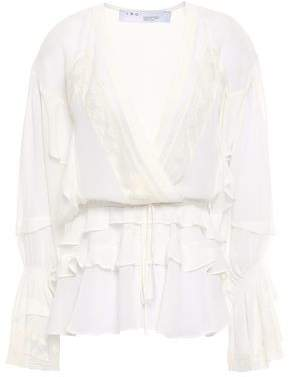 IRO Endless Lace-trimmed Ruffled Silk-georgette Peplum Blouse