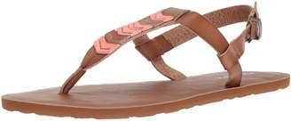 Volcom Women's Trail 6 Chevron T-Strap Synthetic Leather Fashion Sandal Flat
