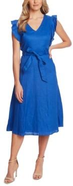 CeCe Belted Flutter-Sleeve Midi Dress
