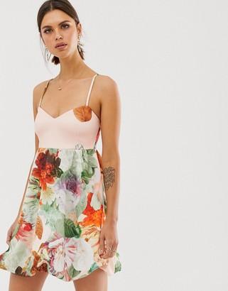 Asos Design DESIGN floral cami bubble hem midi prom dress-Pink