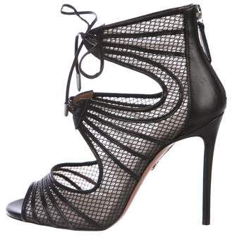 Aquazzura Mesh Peep-Toe Pumps