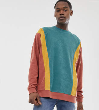 Asos Design DESIGN Tall oversized sweatshirt in towelling with color blocking in brown