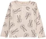 Bobo Choses Organic Cotton Bunny Henley Neck T-Shirt