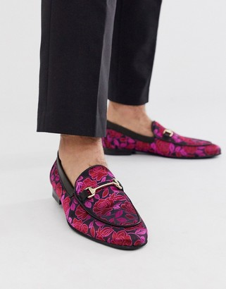 Walk London jude bar loafers in pink brocade-Black