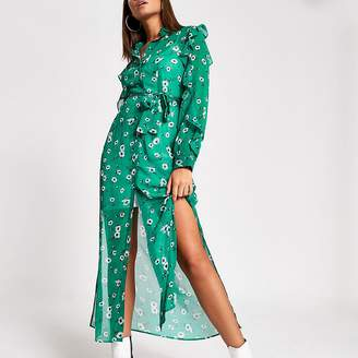 River Island Green floral tie belted maxi shirt dress