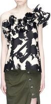 Johanna Ortiz 'Macau' one-shoulder ruffled floral cotton top