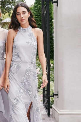 Little Mistress Delyla Grey Floral Sequin Maxi Dress