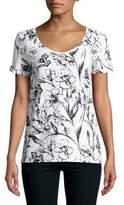 Lord & Taylor Floral-Print Cotton Slub V-neck Roll Sleeve Tee