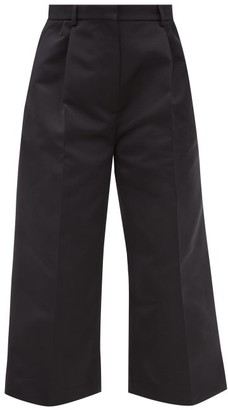 Rochas Straight-leg Duchess-satin Cropped Trousers - Black