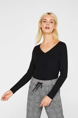 Esprit Womens V-Neck Sweater - Black