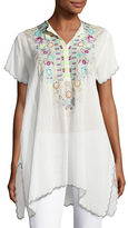 Johnny Was Livana Embroidered Short-Sleeve Tunic