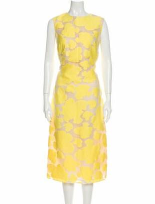 Adam Lippes Patterned Midi Length Dress Yellow